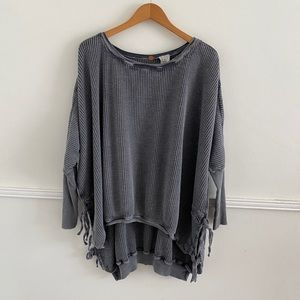 FP One Oversized Interlaken Gray Waffle Knit Top